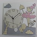 'Eclettica Kunst und Design Uhr 'Ballerina (45x 45cm. Pink)