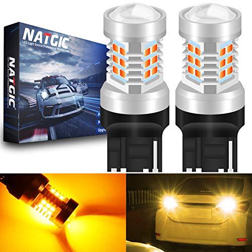 NATGIC 7440 7440NA 7441 992 T20 Ampoules LED Amber 21 - EX 2835 SMD avec projecteur pour Objectif pour Feux de Clignotant arrière, 10-16V 10,5W (Lot de 2)