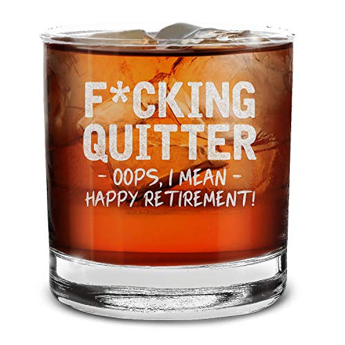Shop4Ever Quitter Oops, I Mean Happy Retirement! Engraved Whiskey Glass