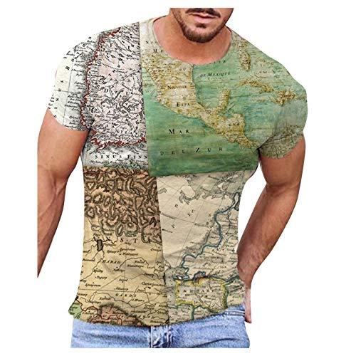 Camiseta unisex con impresión 3D divertida, para hombre, verano, moda informal, mapa del mundo 3D, impresión de abejas, manga corta, cuello redondo, estampado, tallas S-XXL verde S