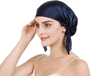 Savena 100% Mulberry Silk Night Sleeping Cap for Long Hair Bonnet Hat Smooth Soft Many Colors, Hair Care Ebook Included (Navy Blue)