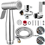 Handheld Bidet Toilet Sprayer Set with Dual Mode Spray Head (Jet/Soft) Premium Brushed Stainless Steel Sprayer for Bidet Attachment, Baby Cloth Diaper Sprayer Set, Bathroom Toilet Clean…