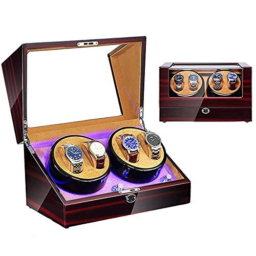 FGVDJ Bobinadoras de Reloj de Cuerda automática para 4 Relojes Devanadera de Reloj para Reloj automático con Motor Extremadamente silencioso y Accesorios de dormitori