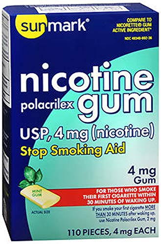SunMark Nicotine Polacrilex Gum - 110 pieces, 4 MG - MINT Favor - Stop Smoking Aid