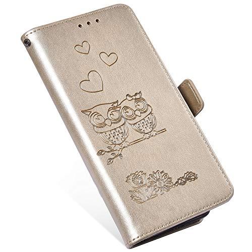 QPOLLY Kompatibel mit Samsung Galaxy A3 2016 Hülle Klappbar Ledertasche,Premium PU Leder Handytasche Brieftasche-Stil Magnet Geldbörse Handyhülle für Galaxy A3 2016 mit Kartenhalter Standfunktion,Gold