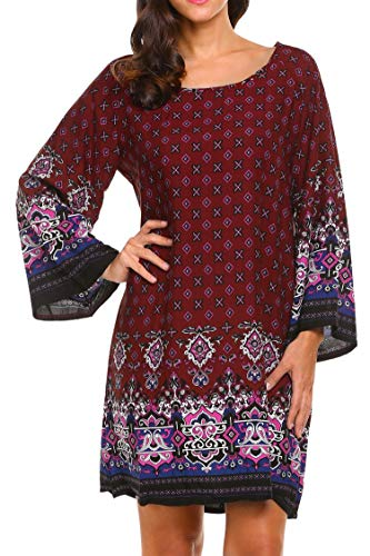 Hotouch Womens Plus Size Bohemian Printed Ethnic Style Casual Beach Shift Dress Wine Red XXXL