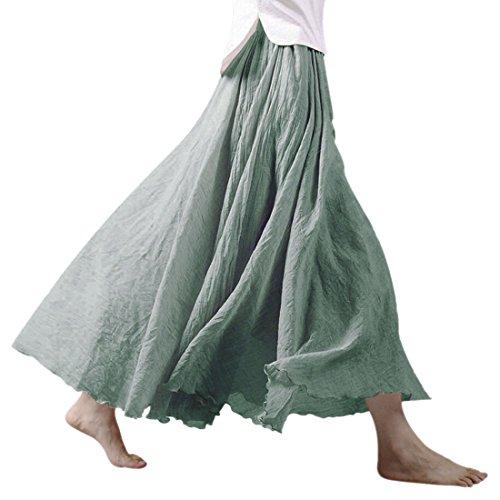 Nlife Frauen böhmische Polyester Double Layer elastische Langer RockMaxi, Light Green, 95CM