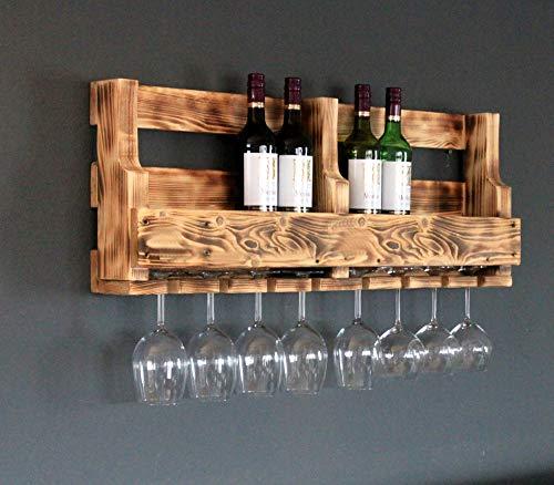 dekorie Holz Weinregal mit Gläserhalter fertig montiert braun geflammt