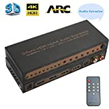HDMI Switch 4K, HDMI Splitter Switcher4K@ 60Hz Audio Extracteur 3 in 1 Out,HDR Commutateur HDCP2.2/ IR/UHD/Arc/EDID | Toslink Coaxial Audio AC3 pour Xbox one/PS4/Blu-Ray/Firestick/Apple TV