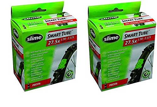 2 x Slime Bike Inner Tubes 27.5 x 1.90-2.125 650B Mountain Bikes Presta Valves - Slime Filled To Instantly Seal And Repair Punctures