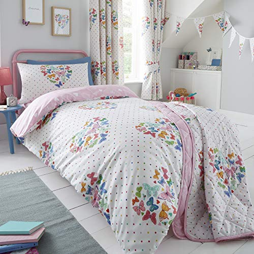 Happy Linen Company Girls Kids Hearts Butterflies Double Reversible Duvet Cover Bedding Set