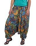 Coline Saroul 3 en 1 Mujer Impresa gráfica Floral Pantalones de harén Ligeros Hippie Harén Holgado Boho Pantalón Pantalones de Yoga (Naranja, Talla única)