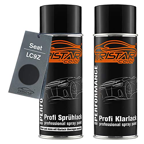 TRISTARcolor Autolack Spraydosen Set für Seat LC9Z Negro Perl Metallic/Negro Magic Metallic Basislack Klarlack Sprühdose 400ml