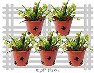 Royal baskets Round 3 Butterfly Railing Planter/Plant pots (Orange, Pack of 5)…
