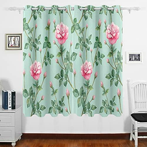 Mnsruu Cortinas térmicas opacas con diseño de rosas inglesas, cortas, cortinas cortas, ojales en la parte superior para dormitorio, cocina, 160 x 140 cm