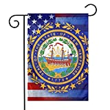 """Hssa USA and New Hampshire State Flag Garden Flag Banner Decorative Outdoor Single Sided Yard Flag 12""""X18"""""""