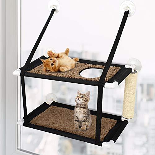 GNEGNIS Hamaca para ventana de gato, percha de doble capa con poste rascador, estable 6 ventosas para hasta 10 kg, doble capa