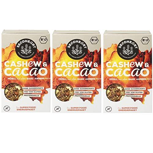 Seedheart Cashew Kakao 825gr Bio Saaten-Kerne-Müsli Kakaonibs Cashew Quinoa | Glutenfrei | Kein Getreide | Ohne Zucker | Superfood