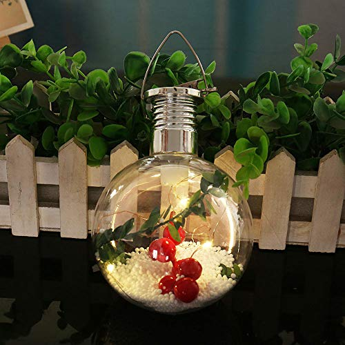 Crystal Ball Solar Bulb Lamp Power LED String Fairy Hanging Lights Solar Garlands Garden Christmas Tree Outdoor Yard Party Decor 2pcs