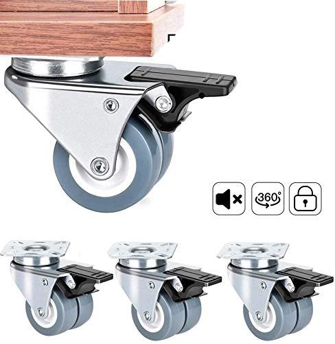 4 Rollen Transportrollen für Möbel Schrauben Lenkrollen mit bremse Schwerlastrollen rollen für Palettenmöbel   Möbelrollen, Doppelrollen 50mm 400KG
