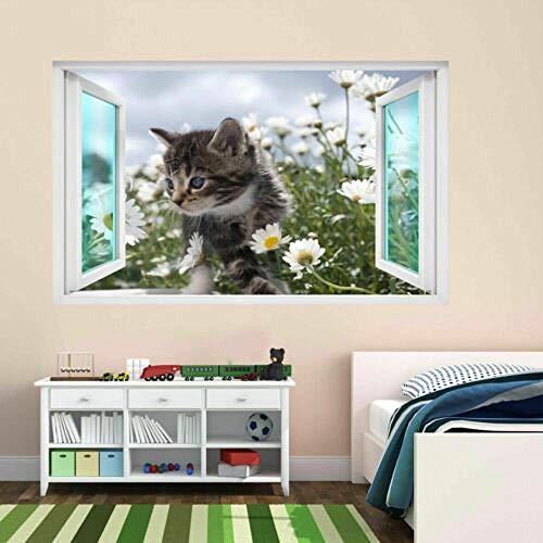 Pegatinas de pared Gato gatito Animal Margarita flores 3D pegatina de pared Mural calcomanía decoración de habitación de niños póster papel tapiz- 70×100cm