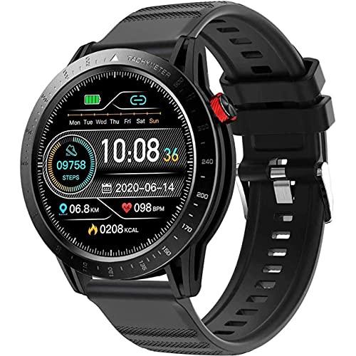 GEQWE Reloj Inteligente para Hombres, con Monitor De Frecuencia Cardíaca Y Presión Arterial De 1.3'con Tacto Completo, Contador De Calorías por Pasos, Rastreador De Ejercicios, Android iOS