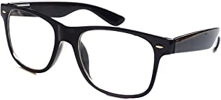 KIDS Childrens Nerd Retro Oversize Black Frame Clear...
