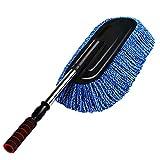 Baizhenshangmao - Cepillo para lavar el coche con mango telescópico extraíble y cepillo de microfibra para lavado de coche, accesorios de coche, herramientas de limpieza para uso en interiores azul