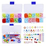 381 Pieces Stitch Ring Markers and Colorful Knitting Crochet Locking Counter Stitch Needle Clips + Weaving Tools Knitting Kits with 3 Storage Boxes