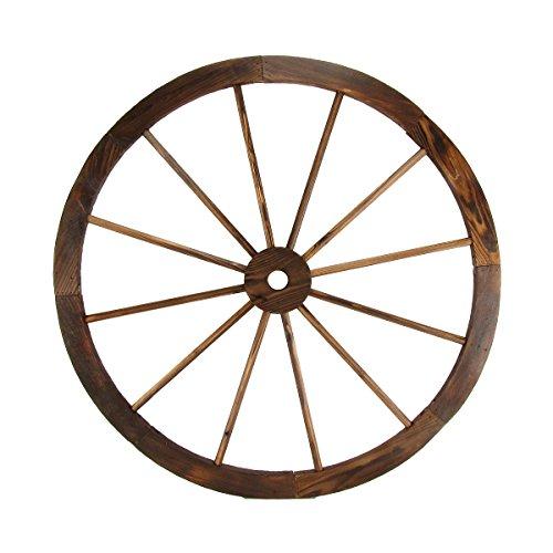 """Treasure Gurus Large 32"""" Wood Wagon Wheel Outdoor Rustic Yard or Garden Decor"""
