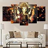 HUANGXLL Sala de Estar Dormitorio 5 Piezas Arte en Lienzo Dios hindú Ganesha Elefante Pintura hindú-Dios-Lienzo Arte de la Lona -30x40cm 30x60cm 30x80cm Sin Marco