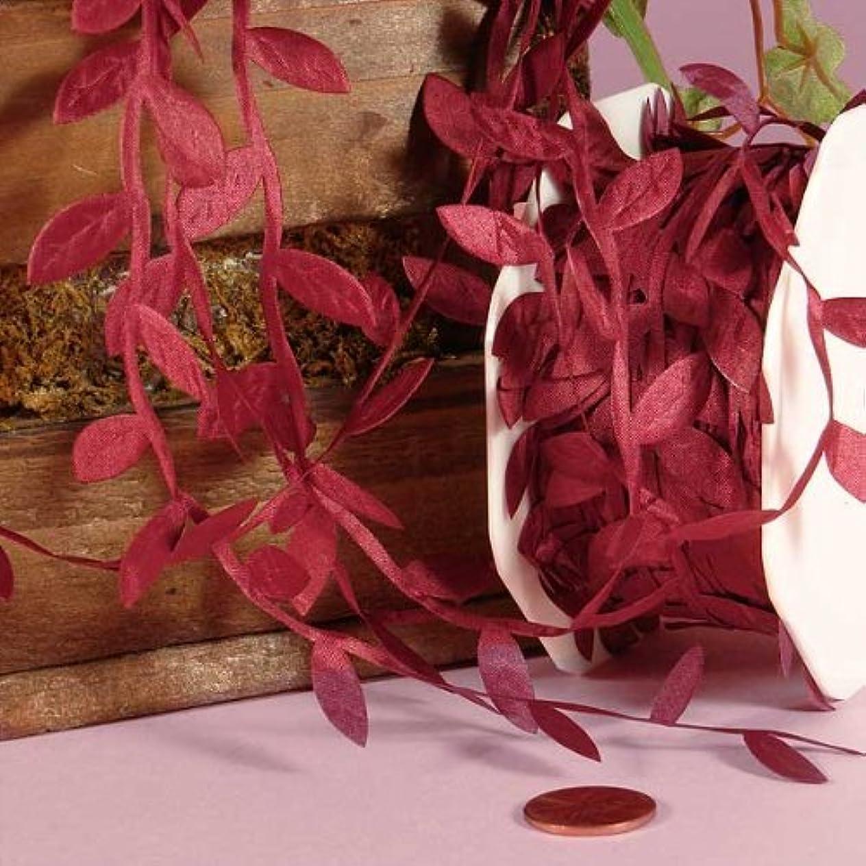 Burgundy Leaf Ribbon, 1-1/4
