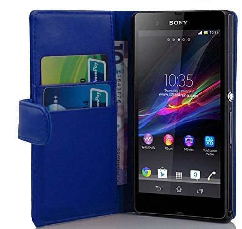 Cadorabo Funda Libro para Sony Xperia Z (1. Gen.) en Azul Brillante - Cubierta Proteccíon de Cuero Sintético Liso con Tarjetero y Función de Suporte - Etui Case Cover Carcasa