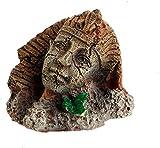 GDEVNSL Decoración del Tanque de Peces, decoración del Acuario Formación de Roca Resina Artificial Faraón Egipcio Antiguo Esfinge Ruinas Estilo Romano Estatua de Pilar Facial Acuario