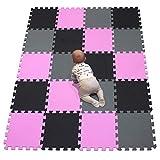 YIMINYUER es colchoneta Suelo de Camping EVA Puzzle Colchonetas 30cm x 30cm x1mm Rosado Negro Gris R03R04R12G301020