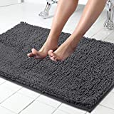Tapis de bain en chenille Shaggy antidérapant ITSOFT pour tapis de salle de bain tapis absorbant l'eau 34 x 21 pouces gris anthracite
