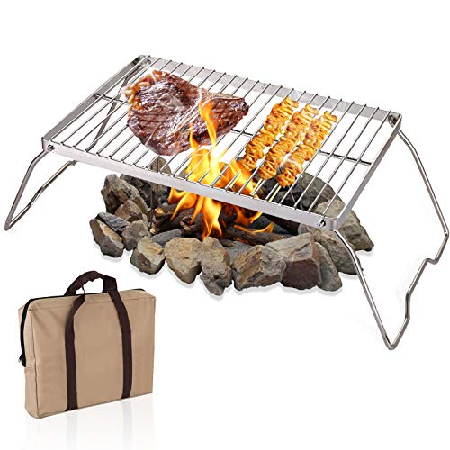 YOPAY Folding Campfire Grill with Legs Carrying Bag, 304 Stainless Steel Grate Barbeque Grill, Heavy Duty Portable Camping Grill for Picnics, Backpacking, Outdoor, 13.6 Inch × 9 Inch × 6.5 Inch