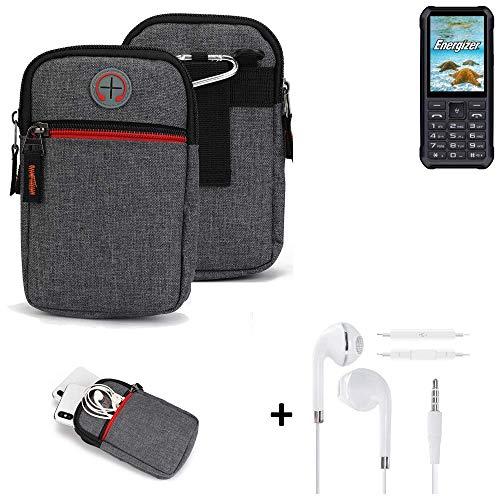 K-S-Trade® Gürtel-Tasche + Kopfhörer Für Energizer H20 Handy-Tasche Holster Schutz-hülle Grau Zusatzfächer 1x