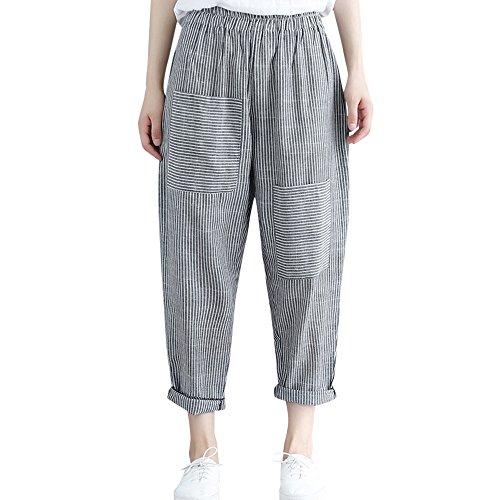 YWLINK Damen Kleidung,Frauen Neue Lose BeiläUfige Harem Hosen Elastische Taille KnöChellangen Hosen GroßE Tasche Hose
