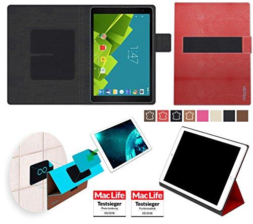 Hülle für Vodafone Tab Prime 6 Tasche Cover Hülle Bumper | in Rot Leder | Testsieger