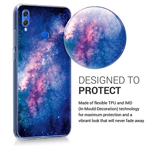 kwmobile Huawei Honor 8X Hülle - Handyhülle für Huawei Honor 8X - Handy Case in Galaxie Sterne Design Rosa Pink Dunkelblau - 3