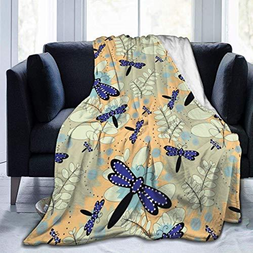 Manta de Lana, patrón de libélula, Manta Unisex para Hombres, Manta de Felpa, Manta de Lana, Manta borrosa para sofá Cama