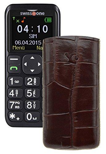 Suncase ECHT Ledertasche Leder Etui für Swisstone BBM 410 Tasche (Lasche mit Rückzugfunktion) in croco-braun