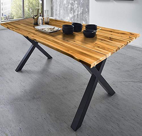 SAM Baumkantentisch 180x90 cm Placido, massiver Esszimmertisch, Akazienholz, echte Baumkante, Schwarze X-Beine aus...