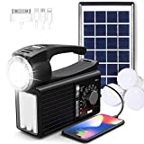 Raddy RF-L3 Camping Lantern Flashlight with Solar Panel, AM/FM/SW Shortwave Radio, Bluetooth/USB/AUX/TF Music Player, Phone Charger, Portable Emergency Kit for Camping, Fishing & Home Use