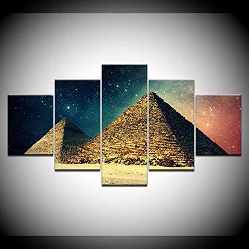 KJLTLD Leinwand Bild - Ägypten Pyramiden bei Sonnenuntergang - 200 x 100 cm Vlies Wohnung Wanddeko Wand Wohnzimmer - 5 Teilig - Kunstdrucke - Fertig zum Aufhängen