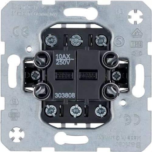 Hager BERK Wippschalter 303808 Doppel Aus/Wechsel, Metallic