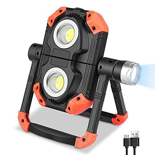 Nasjac Luces de trabajo LED, 2 luces de inundación COB, 1 linterna LED, base magnética recargable USB plegable, rotación de 360 °, resistente al agua, reparación de automóviles al aire libre