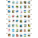 Hanging Instant Photo Display Decorative Wall Hanging String with Clips, Stick and Hang Photo Wall Decor, Wall Hanging Pictures Display for Home, Dormitory and Cafe Decoration (Available to 8 Rows)