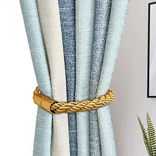 Tiebacks de Cortina magnética, Clips de Cortina Soportes de Cuerda Soportes Hebillas para decoración de oficinas en el hogar Tratamiento de Ventanas, 2 Piezas (Oro)